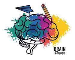 hjärnkraftaffisch med penna och flygplan vektor