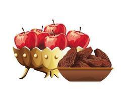 Ramadan Kareem Gericht mit Essen und Äpfeln Symbol vektor