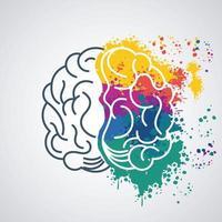 hjärnkraft mall med färger stänk vektor