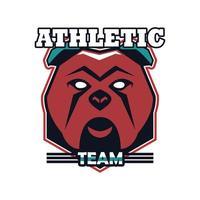 Bulldoggenkopf-Tieremblemikone mit Sportmannschaftsbeschriftung vektor