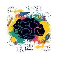 hjärnkraftmall med färger stänk och ange ikoner vektor