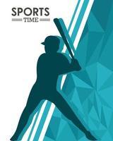 sportlicher Mann Silhouette Baseball üben vektor