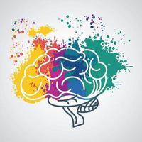 hjärnkraftmall med färgfärger stänk vektor
