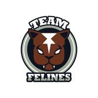 panter huvud djur emblem ikon med team kattdjur bokstäver