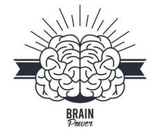 hjärnkraftram med band vektor