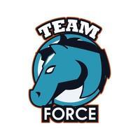Pferdekopf-Tieremblemikone mit Teamkraftbeschriftung vektor
