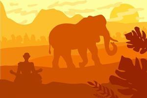 indiskt landskap med elefant och yog vektor