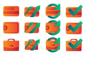 flache Farbverlaufssymbole für Wirtschaft und Finanzen