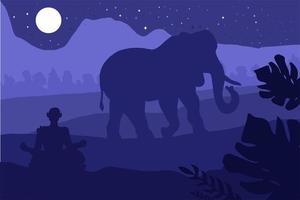 indiskt tropiskt landskap med elefant och munk vektor