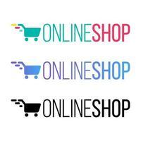 Online-Shop Farbvektor Schriftzug