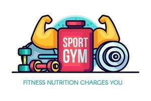 sport gym näring illustration med muskulösa armar, fartyg, sport näring, hantlar, skivstång vektor