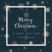 Jul och nyår bakgrund med snöflingor och dekorativa vektor