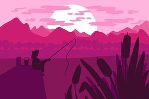 Fischer, der auf dem Pier auf dem Fluss fischt vektor