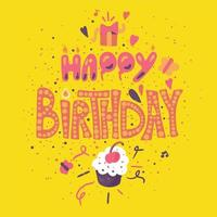 Alles Gute zum Geburtstag Grußkarte mit Cupcake vektor