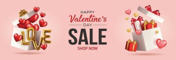glückliche Valentinstag-Vektor-Banner-Grußkarte mit Valentinselementen wie Geschenk- und Herzentwurf im roten Hintergrund. Goldmetallic Text Liebe, realistische rote Luftballons. Vektorillustration vektor