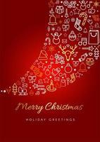 Frohe Weihnachten Grußkarte Vorlage vektor