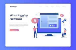Microblogging Illustration Landing Page