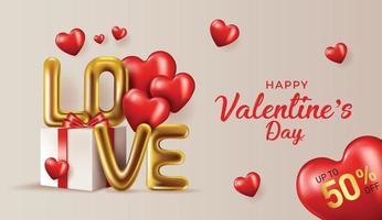 Valentinstag Verkauf Hintergrund.Romantische Komposition mit Herzen. Vektorillustration für Website, Plakate, Anzeigen, Gutscheine, Werbematerial. vektor