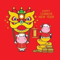 gott kinesiskt nyår 2021 år av oxen. vektor