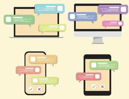 chatta konversationer i olika verktyg. mobiltelefon, surfplatta, dator, bärbar dator, konversationsuppsättning. vektor