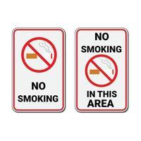 ingen rökning tecken och ingen rökning i detta område tecken vektor