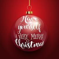 Dekorativer Weihnachtstext auf hängendem Flitter vektor