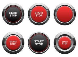 Start Motor Knopf Vektor Design Illustration Set isoliert auf weißem Hintergrund