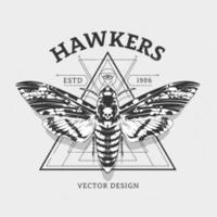 Vektordesign mit Motte und heiliger Geometrie vektor
