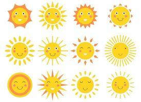 lächelnde Sonne Cartoon Vektor Design Illustration Set isoliert auf weißem Hintergrund