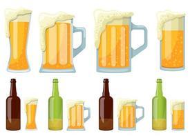 Becher und Flasche Biervektorentwurfsillustrationssatz lokalisiert auf weißem Hintergrund vektor