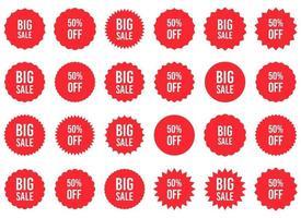 großer Verkauf Aufkleber Vektor Design Illustration Set isoliert auf weißem Hintergrund