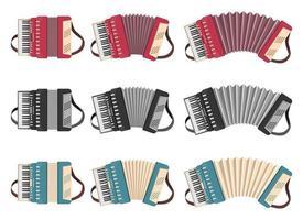 Akkordeon Vektor Design Illustration Set isoliert auf weißem Hintergrund