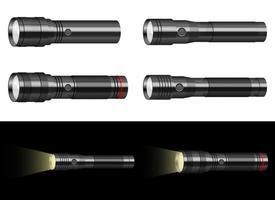 Taschenlampenvektor-Entwurfsillustrationssatz lokalisiert auf Hintergrund vektor