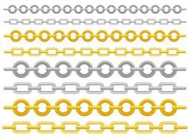 Metallic-Kettenvektor-Entwurfsillustrationssatz lokalisiert auf weißem Hintergrund vektor