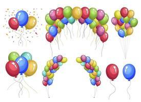 farbige Ballons Vektor-Design-Illustrationssatz lokalisiert auf weißem Hintergrund vektor