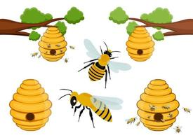 Bienenbaum-Bienenstockvektor-Entwurfsillustrationssatz lokalisiert auf weißem Hintergrund vektor