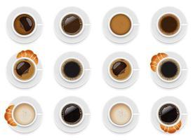 Tasse Kaffee Vektor Design Illustration Set isoliert auf weißem Hintergrund