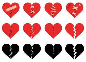 gebrochenes Herz stellte Vektorentwurfsillustrationssatz lokalisiert auf weißem Hintergrund ein vektor