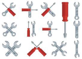 Schraubenschlüssel-Werkzeugvektor-Entwurfsillustrationssatz lokalisiert auf weißem Hintergrund vektor