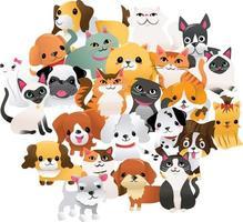 super süße Cartoon Welpen Kätzchen Gruppe vektor