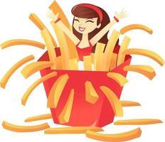 Cartoon Pommes Frites Mädchen Überraschung vektor