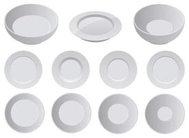 realistische Porzellanplatte Vektor-Design Illustration Set isoliert auf weißem Hintergrund vektor