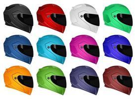 Motorradhelm Vektor Design Illustration Set isoliert auf weißem Hintergrund