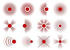 Schmerzkreise Vektorentwurf Illustrationssatz lokalisiert auf weißem Hintergrund vektor