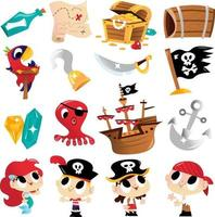 super süßes Piraten-Abenteuerset vektor