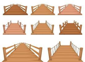 Holzbrückenvektorentwurfsillustrationssatz lokalisiert auf weißem Hintergrund vektor