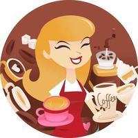 tecknad kvinna kaffe rund ram vektor