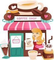 tecknad kafé med lagerhållare vid fönstret vektor