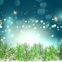 Weihnachtshintergrund mit Tannenbaumasten und -schneeflocken vektor