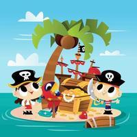 super süßes Pirateninsel-Abenteuer vektor